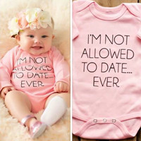 Baby Girl's Onesuit Not Allowed To Date Ever Funny Short Sleeve