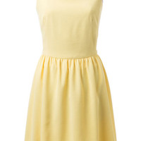 Yellow Strap Cut Out Sleeveless Dress with Buttons