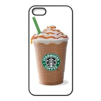 AZA RUBBER SILICONE Case for iPhone 5, Starbucks Coffee Protective RUBBER iPhone Case-Black/White