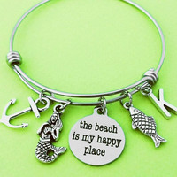 The beach is my happy place, Personalized, Letter, Initial, Marine, Nautical, Anchor, Fish, Mermaid, Silver, Bangle, Bracelet, Gift, Jewelry