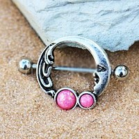 316L Stainless Steel Crescent Moon Nipple Ring with Pink Synthetic Opal