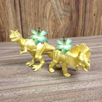 Up-cycled Small Gold Triceratops and T-rex Dinosaur Planters