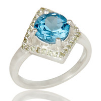 925 Sterling Silver Blue Topaz And Peridot Gemstone Designer Cocktail Ring