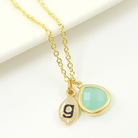 Initial Mint Green Drop Pendant Necklace Personalized Alphabet Green Gold Custom Necklace with 18 Inch Gold Plated Chain