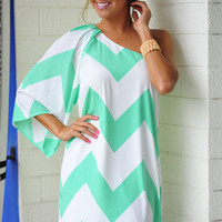 Wild Wide One Shoulder Chevron Dress: Mint | Hope's