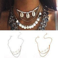 Cool Beach Gold/Silver Chain Pearl Shell Tassel Pendant Choker Necklace Jewelry