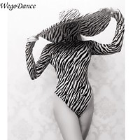 Gogo Show dance team DS bar DJ sexy black and white striped big hat performance Costume leotard for woman freeshipping (Black One Size)