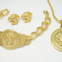 SPBEST gold versace medusa three piece set with bracelet, necklace and earrings/rings