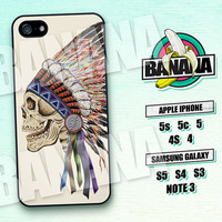 Skull, Indian Chief, Feather, iPhone 5 case, iPhone 5c Case, iPhone 5s case, Phone case, iPhone 4 Case, iPhone 4s Case, Phone Skin, sk03