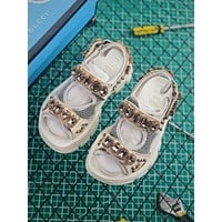 Gucci White Leather And Mesh Sandal With Crystals
