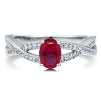 Oval Ruby Cubic Zirconia Sterling Silver Woven Solitaire Ring 0.76 Ct #r596