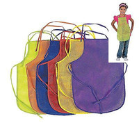 12 Pack Assorted Children's Artists Aprons Kitchen or Classroom Colors New Free