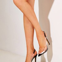Peep Toe Clear Stiletto Heels
