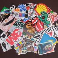 random 50 pcs Free shipping mixed decor toy styling laptop stickers for motorcycle skateboard doodle toys sticker