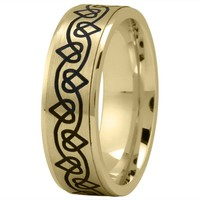Wedding Band - Celtic Mens Ring with Black Rhodium Hearts in Yellow Gold