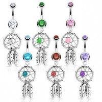Stainless Steel Dream Catcher Woven Star Design with Bead and Feathers Fancy Belly Ring; Comes With Free Gift Box