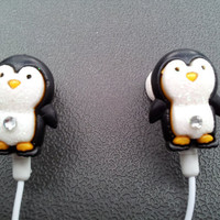 Penguin earbuds with glitter and a swarovski crystal