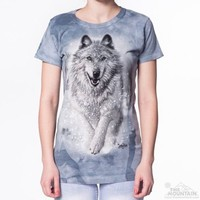SNOW PLOW Womens Wolf T-Shirt Running Wolves The Mountain Graphic Tee S-2XL NEW!
