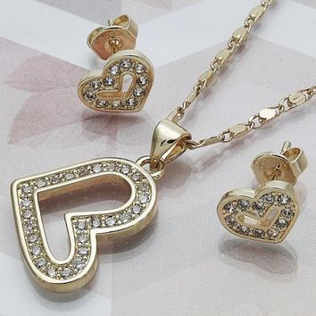 Gold Layered Women Heart Necklace and Earring, with White Cubic Zirconia, by Folks Jewelry