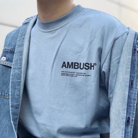 Ambush tide brand chest LOGO letters loose short-sleeved T-shirt Blue