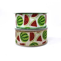 Watermelon Printed Wired Canvas Ribbon, 1-1/2-Inch, 10-Yard