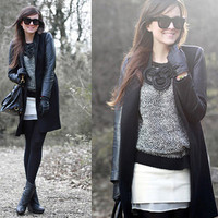 Faux Leather Sleeved Jacket