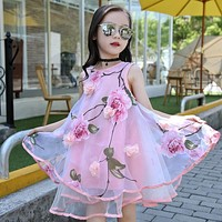 Flower Girls Dress Summer Style Toddlers Teen Children Princess Clothing Fashion Kids Party Clothes Sleeveless Dresses for Girls