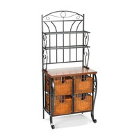 Kitchen Pantry Bakers Rack with 4 Wicker Drawers