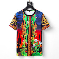 Versace fashion men's and women's round neck T-shirts cactus sunset print short-sleeved top