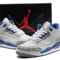 Air Jordan Retro 3 True Blue Men Basketball Shoes 3s True Blue White Cement Retro 3s Men Sneakers With Shoes Box
