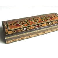 Vintage Wunderley Mosaic Inlay Wooden Box