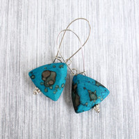 Blue Turquoise Triangle Earrings on Kidney Earwires - Long Beaded Earrings - Blue and Silver Jewelry