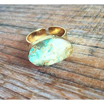 Natural Turquoise/ Lt Brown Stone Ring