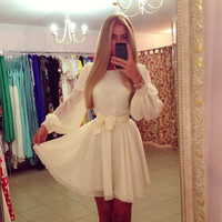 White Longsleeve Bishop Skater Dress With Ribbon Belt