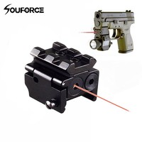 1pc High Quality Aluminum Adjustable Red Laser Sight with 20mm Rail Mount Fit for Glock 17 19 Pistol Guns Glock Hunting Acc