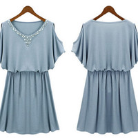 Womens Summer Casual Brief Dress Vestido Gril Blue Black White Bead Cotton Robe Femme Pleat Loose Gown Tunics Clothing Dresses