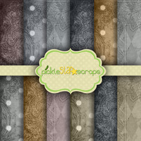 Color Palette Vol3 - 12 Digital Scrapbook Papers - 12x12inch - Printable Shabby color themed Background Paper -  INSTANT DOWNLOAD