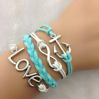 Teal and White Anchor Set