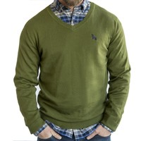 Basil Green Cotton V-Neck Sweater