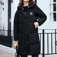 Adidas Women Simple Fashion Thickened Zip Cardigan Middle Long Section Long Sleeve Hooded Cotton-padded Clothes Down Coat