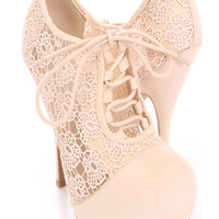 Nude Crochet Lace Up Booties Faux Suede