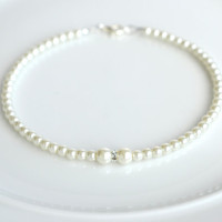 Cream white pearl anklet, pearl ankle bracelet, pearl jewelry, bridal anklet, cream anklet, pearl beaded anklet, wedding jewelry