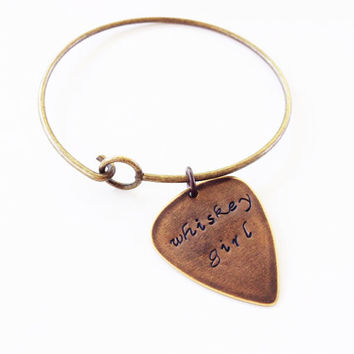 "Metal Guitar Pick ""Whiskey Girl"" Bangle Bracelet, Hand Stamped"