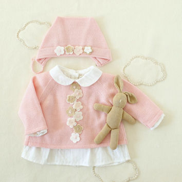 Knitted baby sweater,cap, baby girl, in pink with felt flowers. 100% wool. READY TO SHIP in size Newborn.