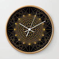 Geometric Circle Black and Gold Wall Clock by Fimbis