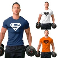 New Arrival Men Workout Gym Silm T-Shirt Bodybuilding Fittness Cotton Shirt [10312513155]