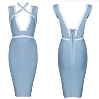 Women's Fashion Sexy V-neck Backless Bandages Dress [4919884740]