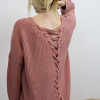 Clearer Skies Lace Up Sweater