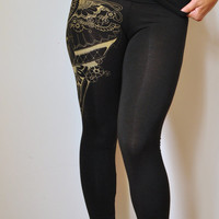 Organic bamboo high waisted leggings with unique henna style wing print in black