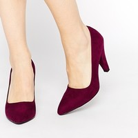 London Rebel Burgundy Court Shoes